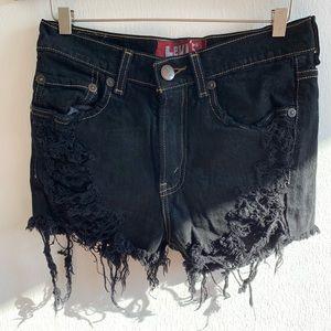 Levi's 514 Slim Straight distressed cutoff shorts